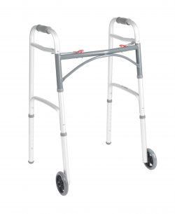 Deluxe Folding Walker, Two Button with 5″ Wheels