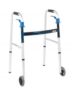 Deluxe, Trigger Release Folding Walker with 5″ Wheels