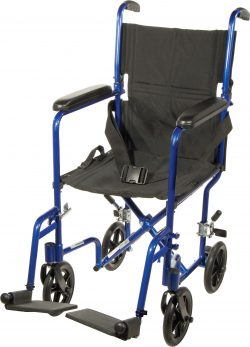 Lightweight Transport Wheelchair, 17″ Seat, Blue
