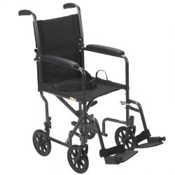 Lightweight Steel Transport Wheelchair, Fixed Full Arms, 17″ Seat
