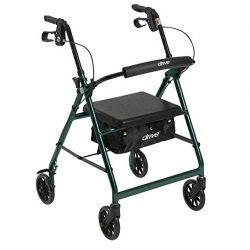 Rolling Walker with Fold Up and Removable Back Support and Padded Seat